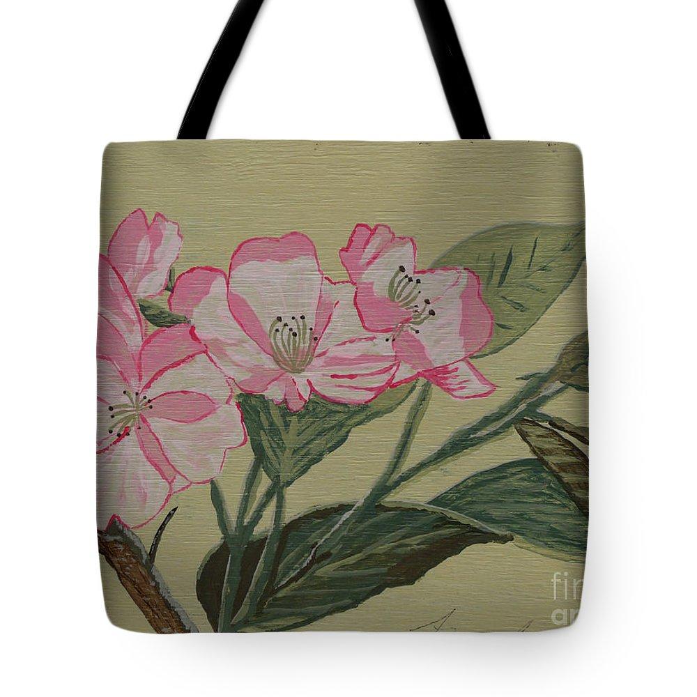 Yamazakura Tote Bag featuring the painting Yamazakura Or Cherry Blossom by Anthony Dunphy