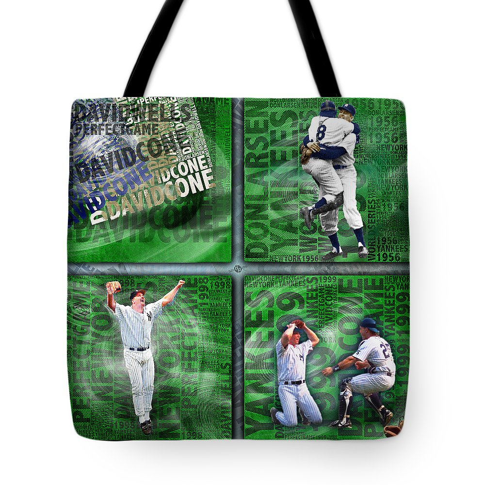 Don Larsen Tote Bag featuring the painting Yankees Perfect Game Combo Larsen Wells Cone by Tony Rubino