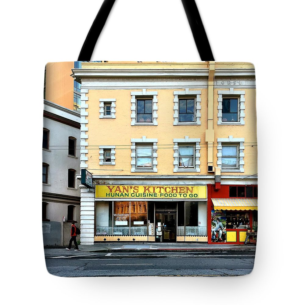 Street Scene Tote Bag featuring the photograph Yan's Kitchen by Julie Gebhardt