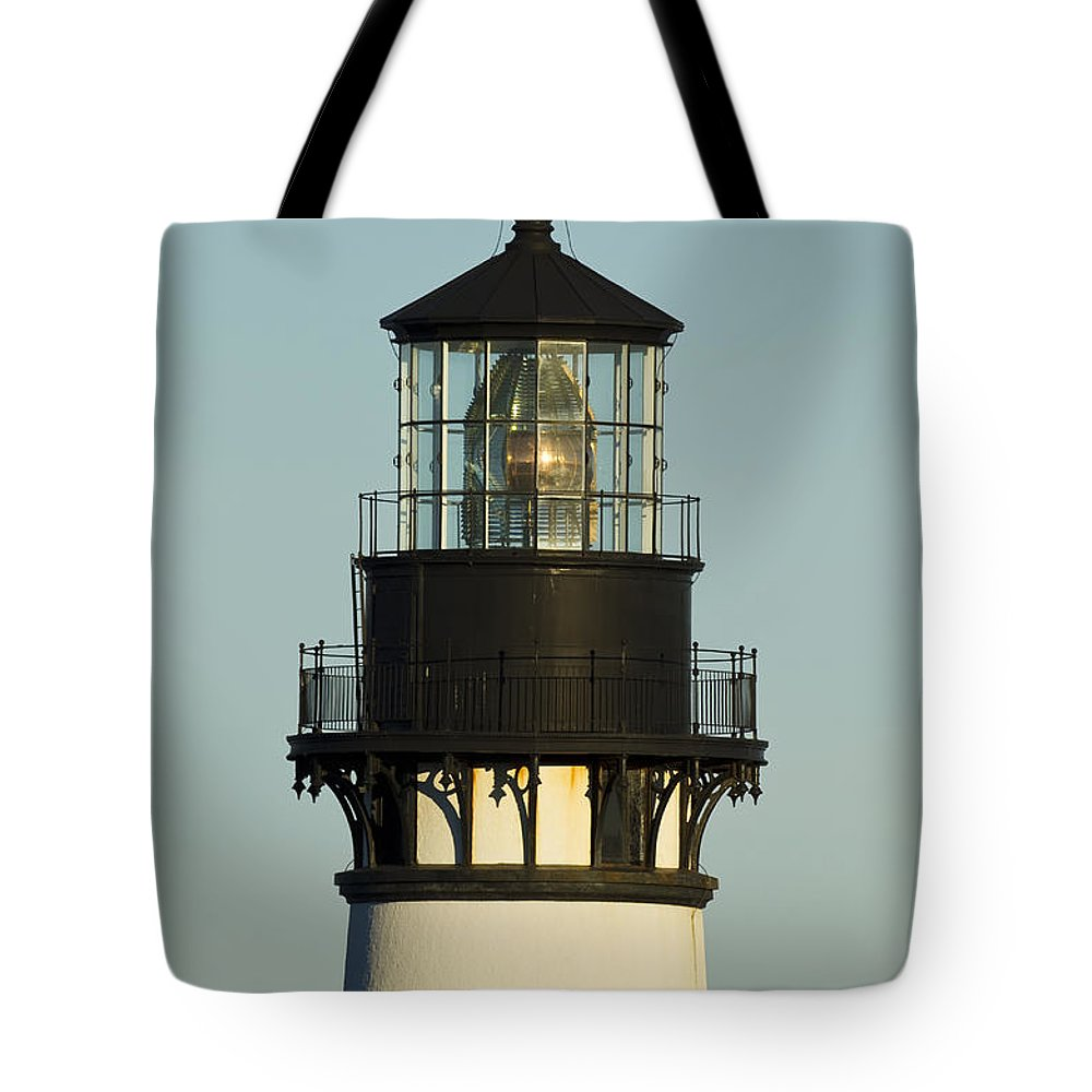 Yaquina Tote Bag featuring the photograph Yaquina Head Lighthouse 4 A by John Brueske