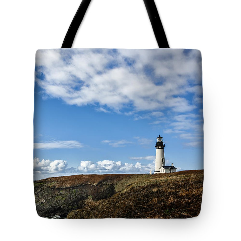 Yaquina Head Lighthouse Tote Bag featuring the photograph Yaquina Head Lighthouse by Mary Jo Allen
