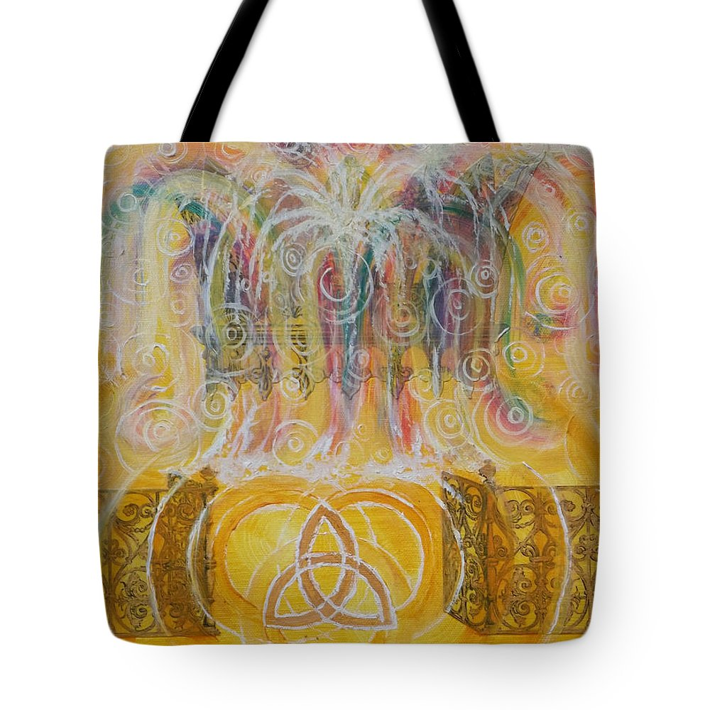 Fountain Tote Bag featuring the painting Yaweh El Shaddai Top Canvas Detail by Anne Cameron Cutri