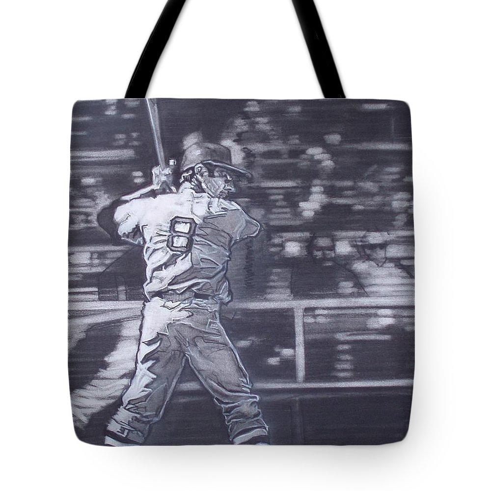 Charcoal Tote Bag featuring the drawing Yaz - Carl Yastrzemski by Sean Connolly
