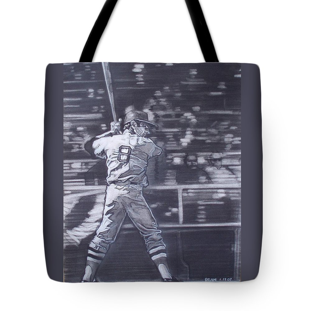 Charcoal On Paper Tote Bag featuring the drawing Yaz - Carl Yastrzemski by Sean Connolly