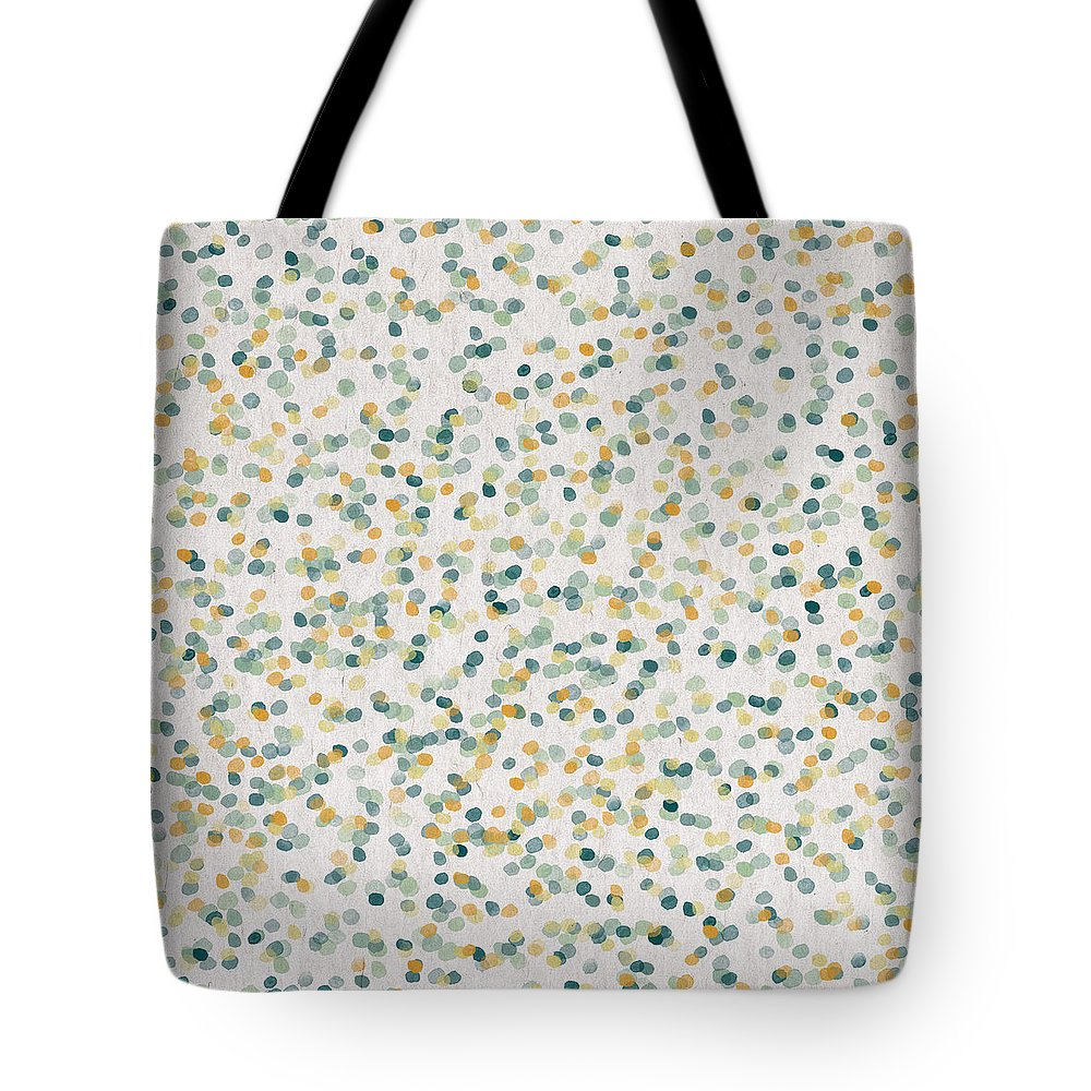Contemporary Art Tote Bag featuring the digital art Yellow and blue Dots by Aged Pixel