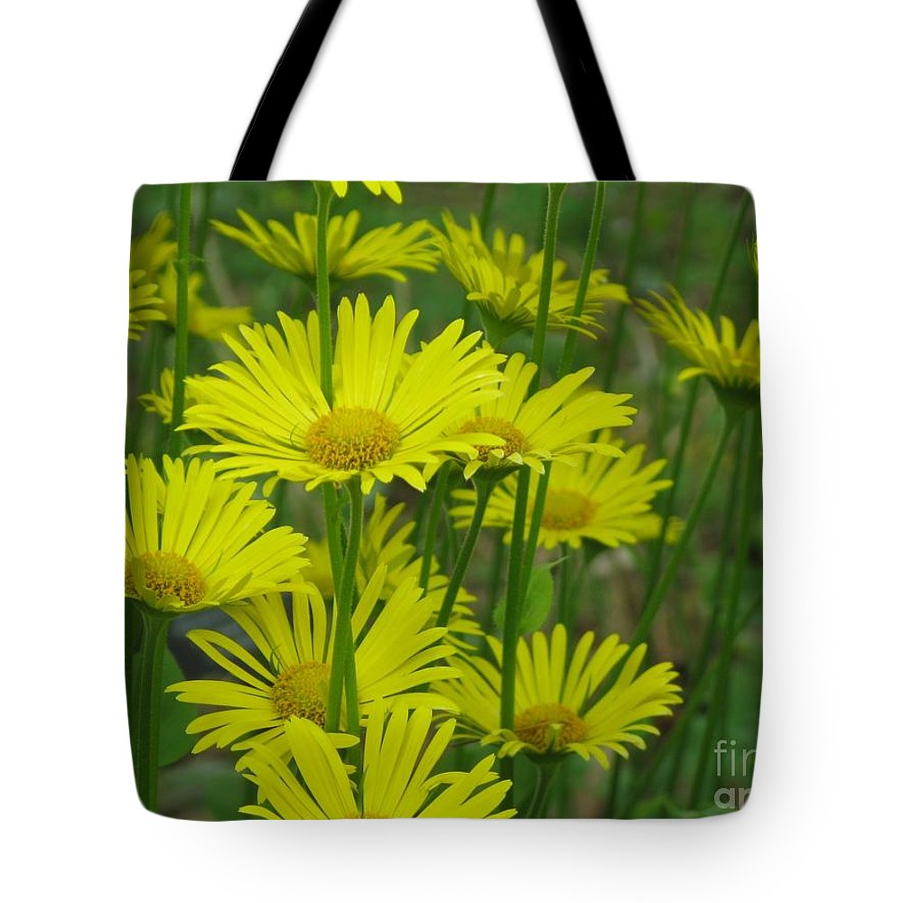 Daisy Tote Bag featuring the photograph Yellow And Green by Lena Photo Art