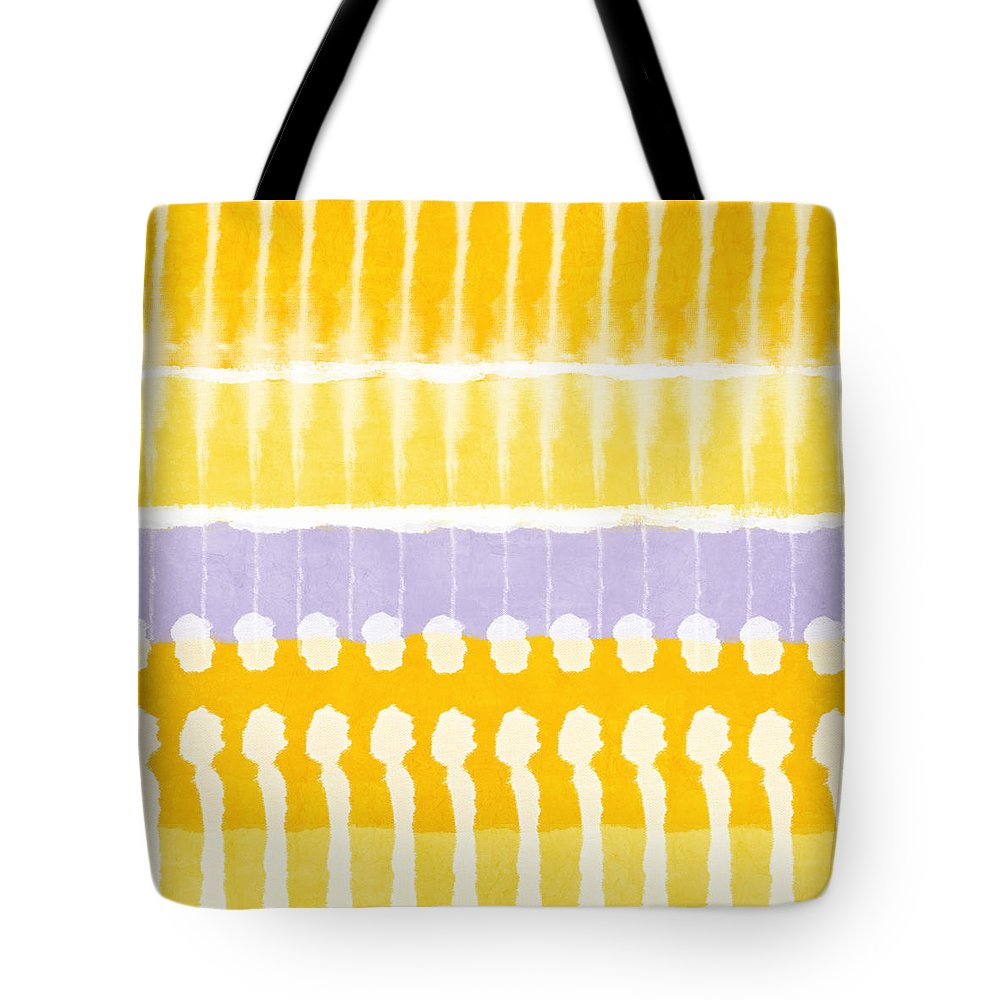 Abstract Tote Bag featuring the painting Yellow and Grey Tie Dye by Linda Woods
