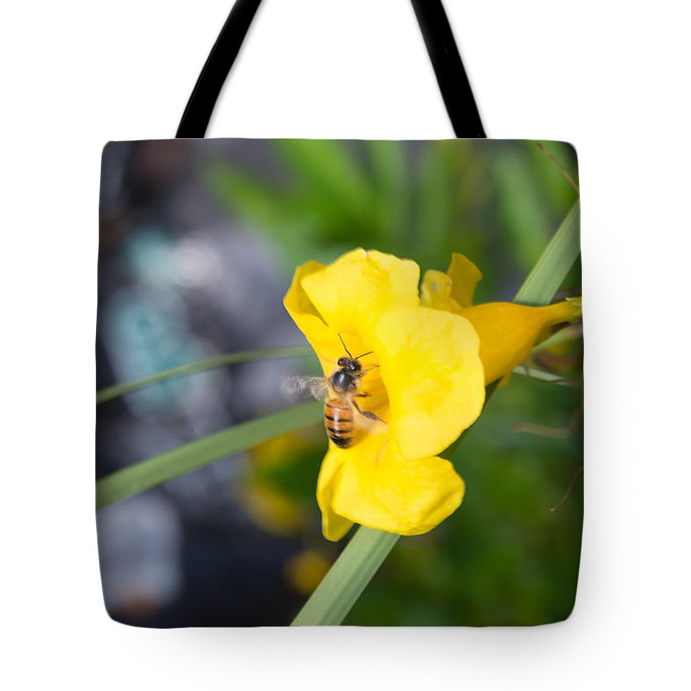 Texas Tote Bag featuring the photograph Yellow Bell Flower With Honeybee by JG Thompson