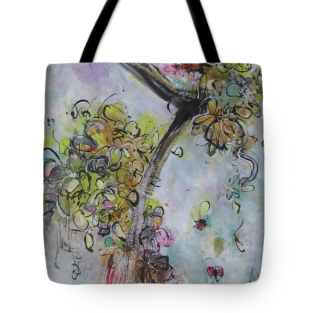 Flower Painting Modern Acrylic Ink Art Tote Bag featuring the painting Yellow Blossoms Painting Flowr Butterflies Art Abstract Modern Spring Color Flower Art by Seon-Jeong Kim