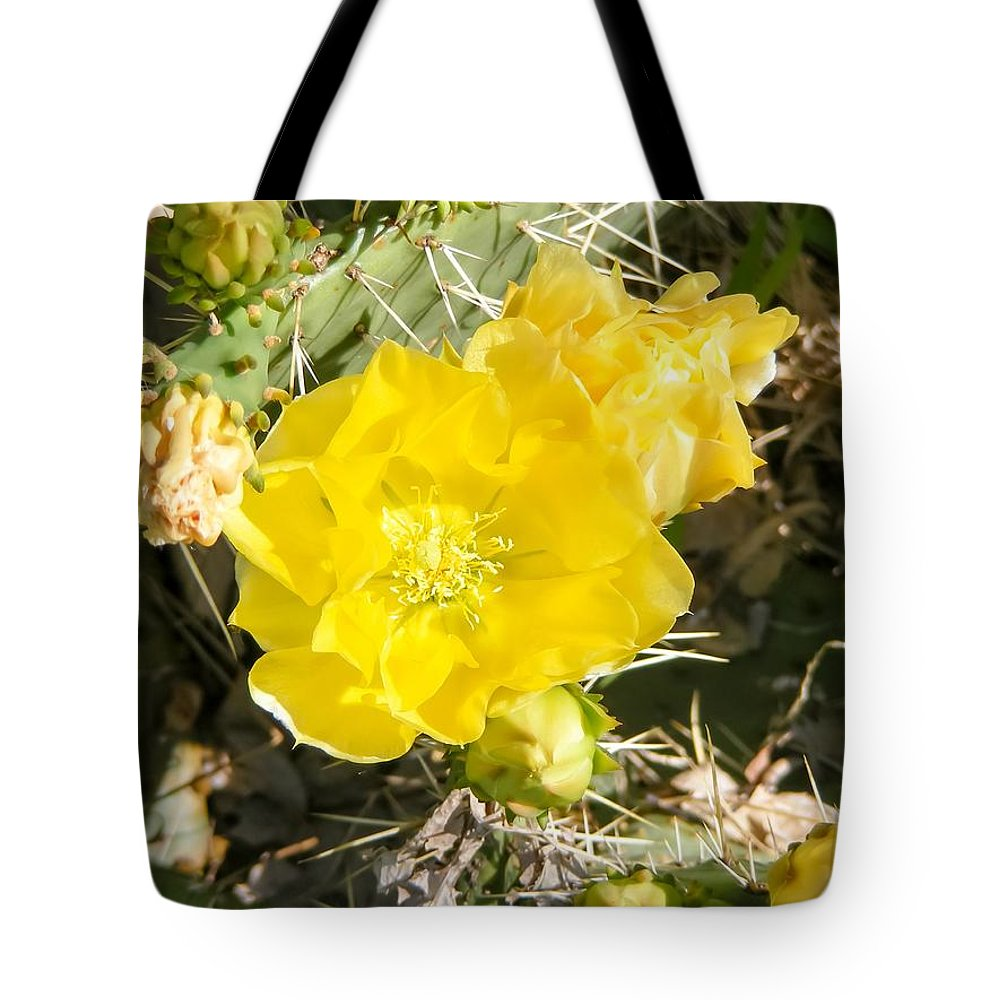 Yellow Cactus Blooms And Buds Tote Bag featuring the photograph Yellow Cactus Blooms And Buds by Cynthia Woods