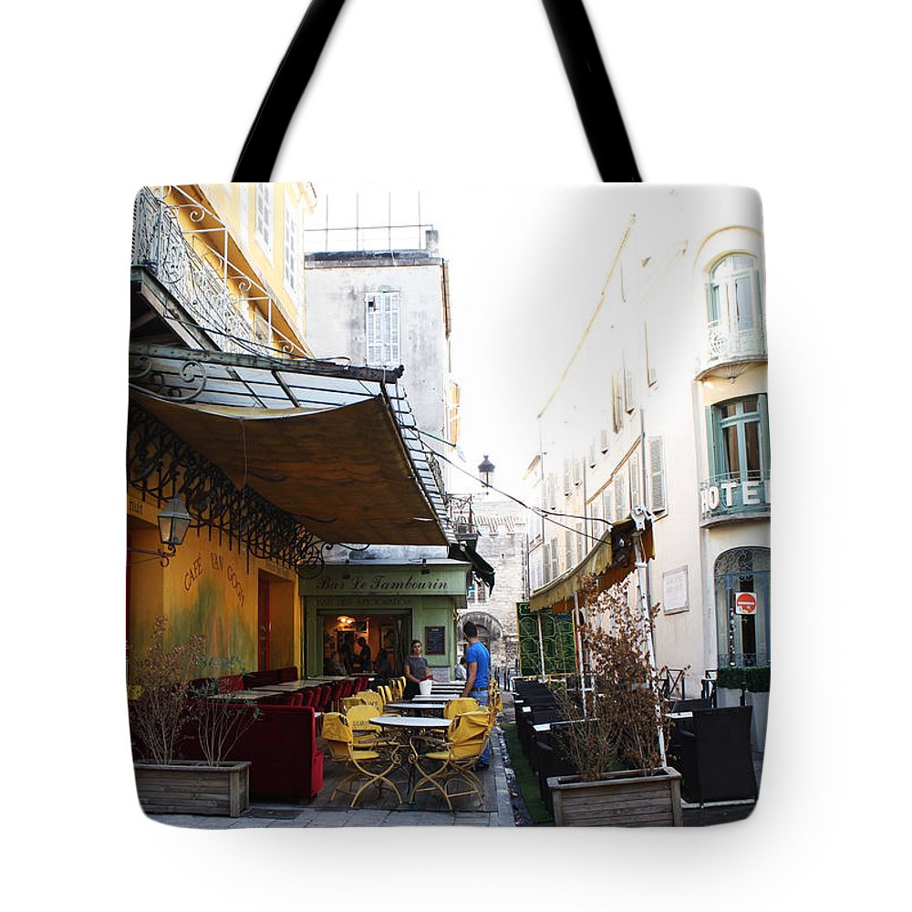 Yellow Tote Bag featuring the photograph Yellow Cafe Arles France by Bridget Brummel