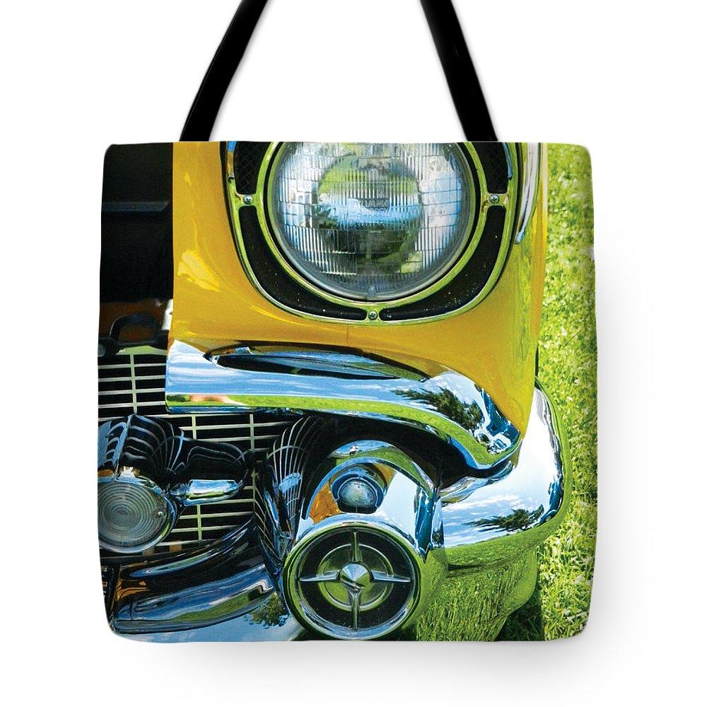 Yellow Tote Bag featuring the painting Yellow Chevy by Val Miller