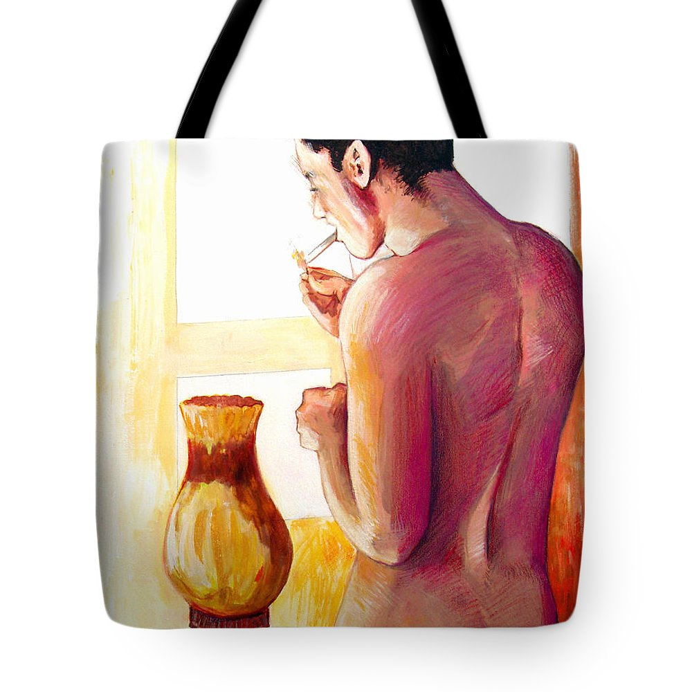 Nude Figure Tote Bag featuring the painting Yellow Cigarette by Rene Capone