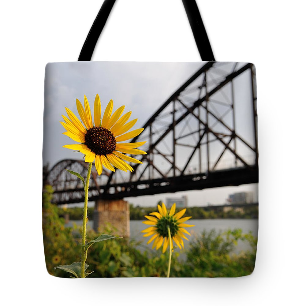 Little Rock Tote Bag featuring the photograph Yellow Cone Flowers And Bridge by Patrick Herrera
