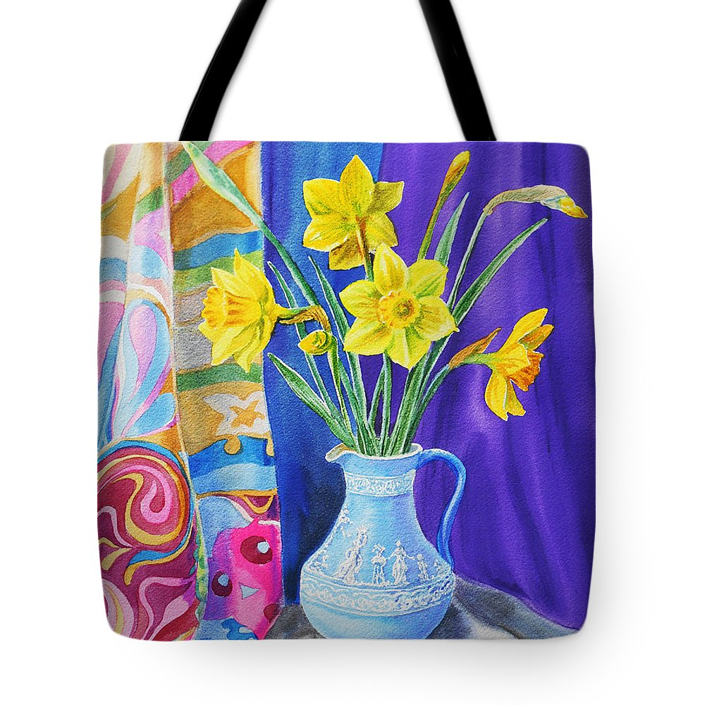 Daffodil Tote Bag featuring the painting Yellow Daffodils by Irina Sztukowski