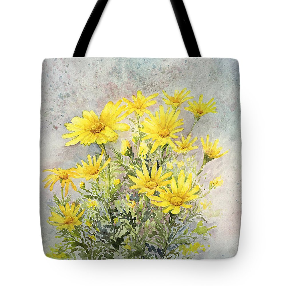 Yellow Tote Bag featuring the painting Yellow Daisies by Ken Marsden