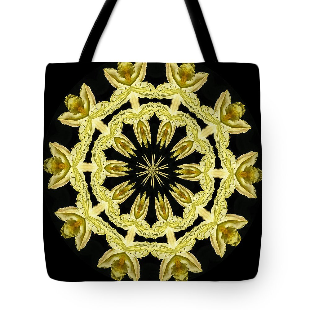 Kaleidoscope Tote Bag featuring the photograph Yellow Fantasy by Lena Photo Art
