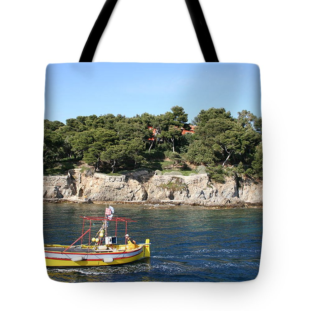 Fishing Boat Tote Bag featuring the photograph Yellow Fishing Boat - Cote D'azur by Christiane Schulze Art And Photography