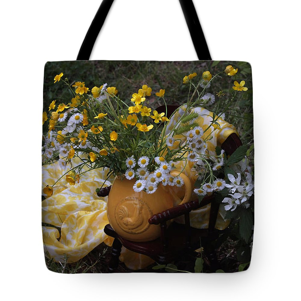 Yellow Flower Tote Bag featuring the photograph Yellow And White Flowers by Luv Photography