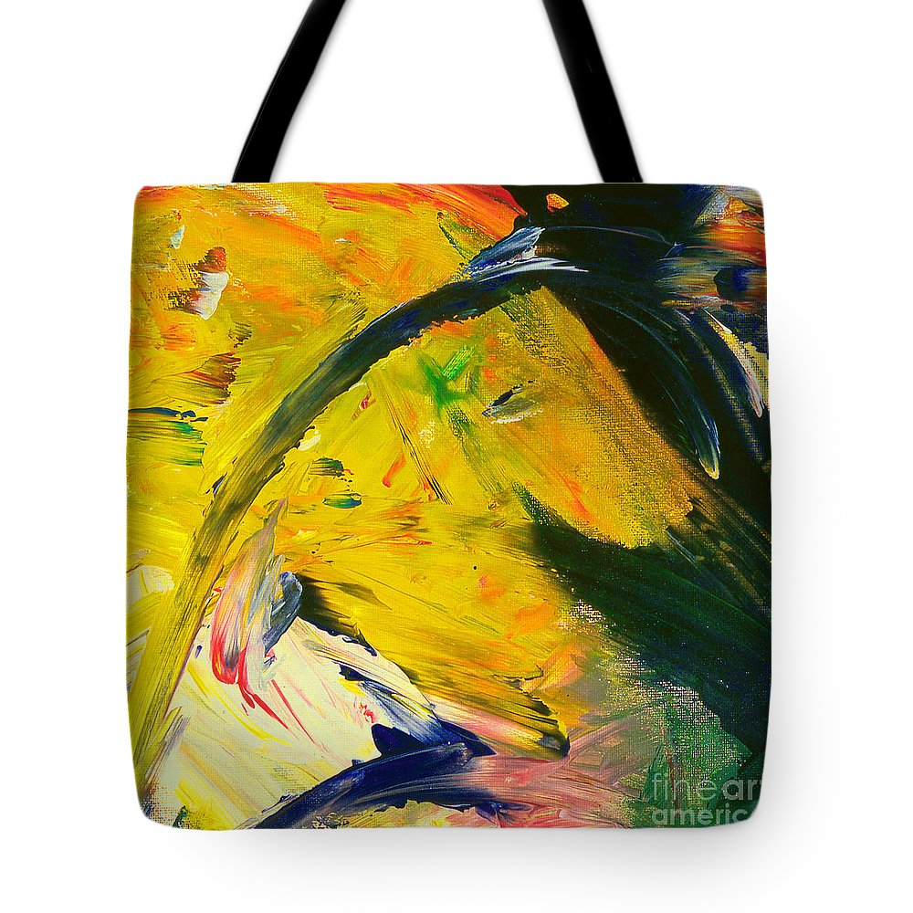 Horse Art Tote Bag featuring the painting Yellow Horse by Noa Yerushalmi