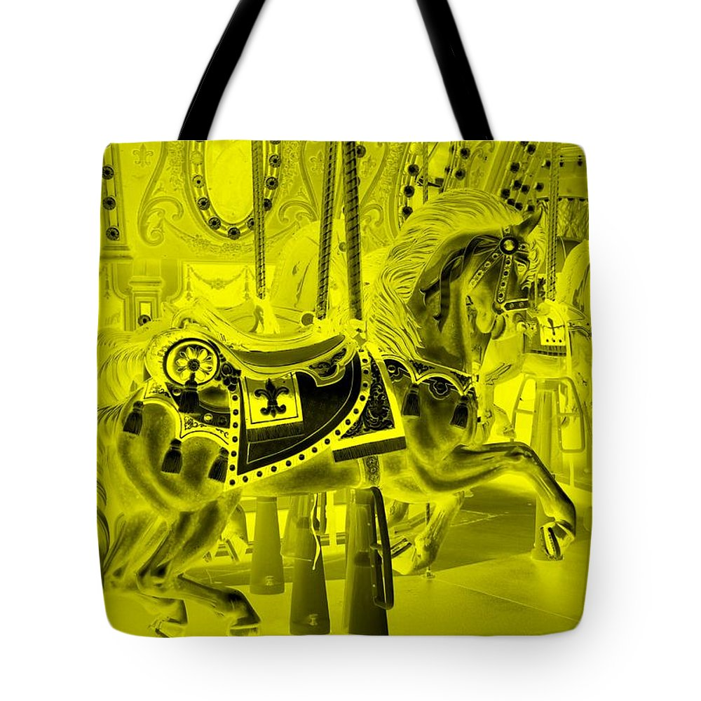 Carousel Tote Bag featuring the photograph Yellow Horse by Rob Hans