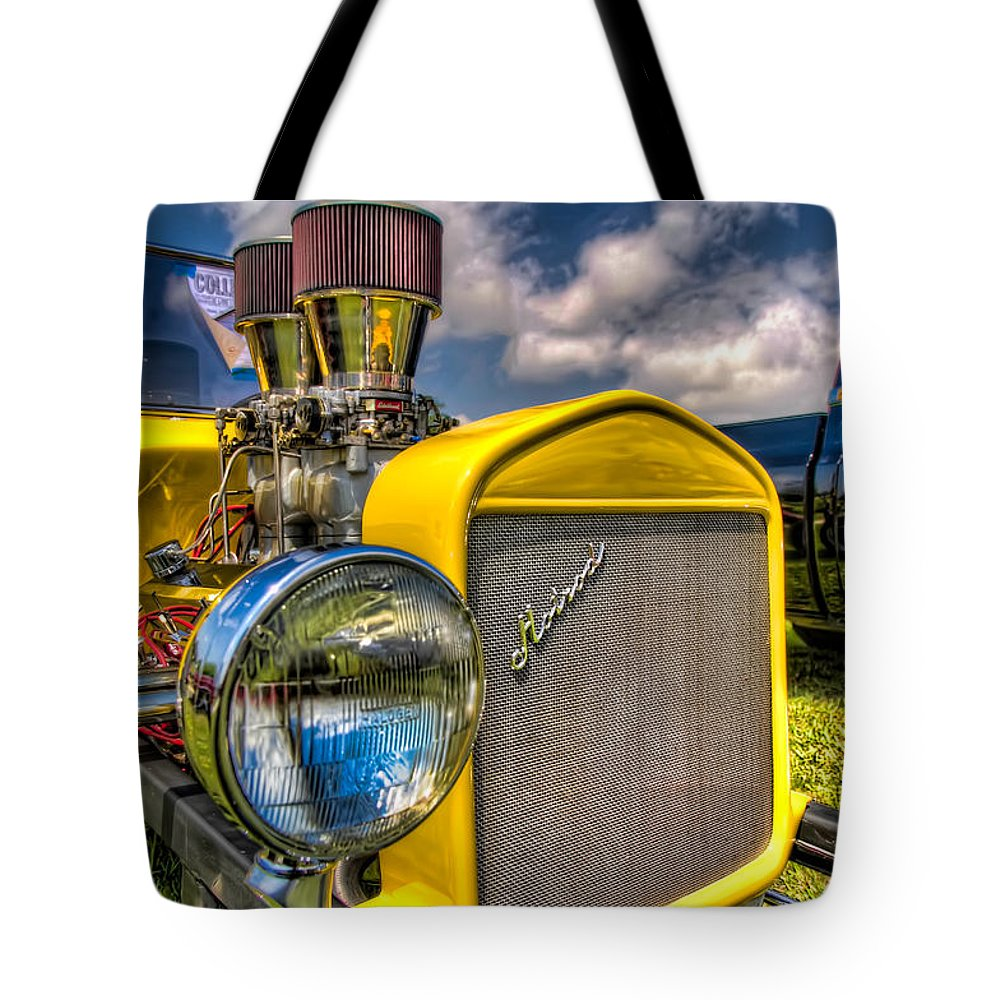 Auto Tote Bag featuring the photograph Yellow Hotrod by Tim Stanley