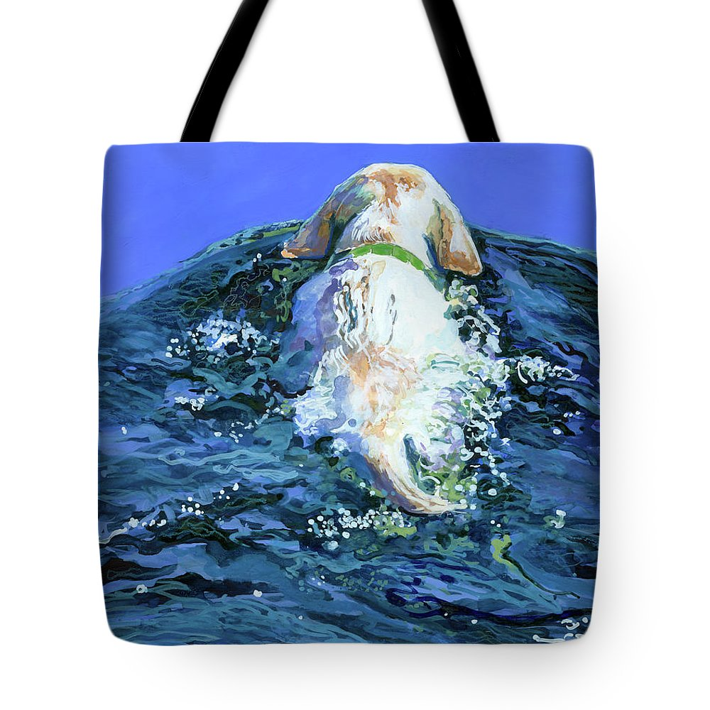 Yellow Labrador Retriever Tote Bag featuring the painting Yellow Lab Blue Wake by Molly Poole