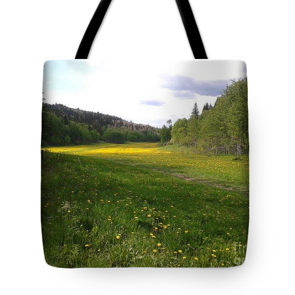 Meadow Tote Bag featuring the photograph Yellow Meadow by Vivian Martin