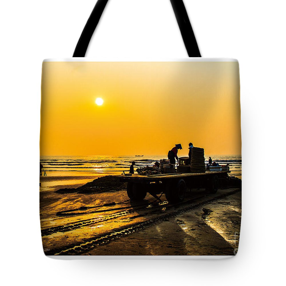Yellow Tote Bag featuring the painting Yellow Morning by Philip HP Wong