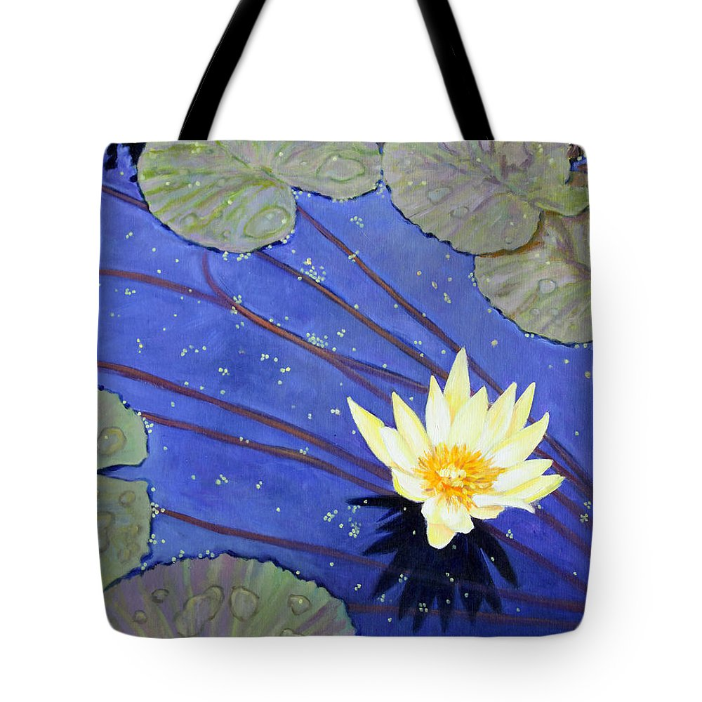 Garden Pond Tote Bag featuring the painting Yellow On Blue by John Lautermilch