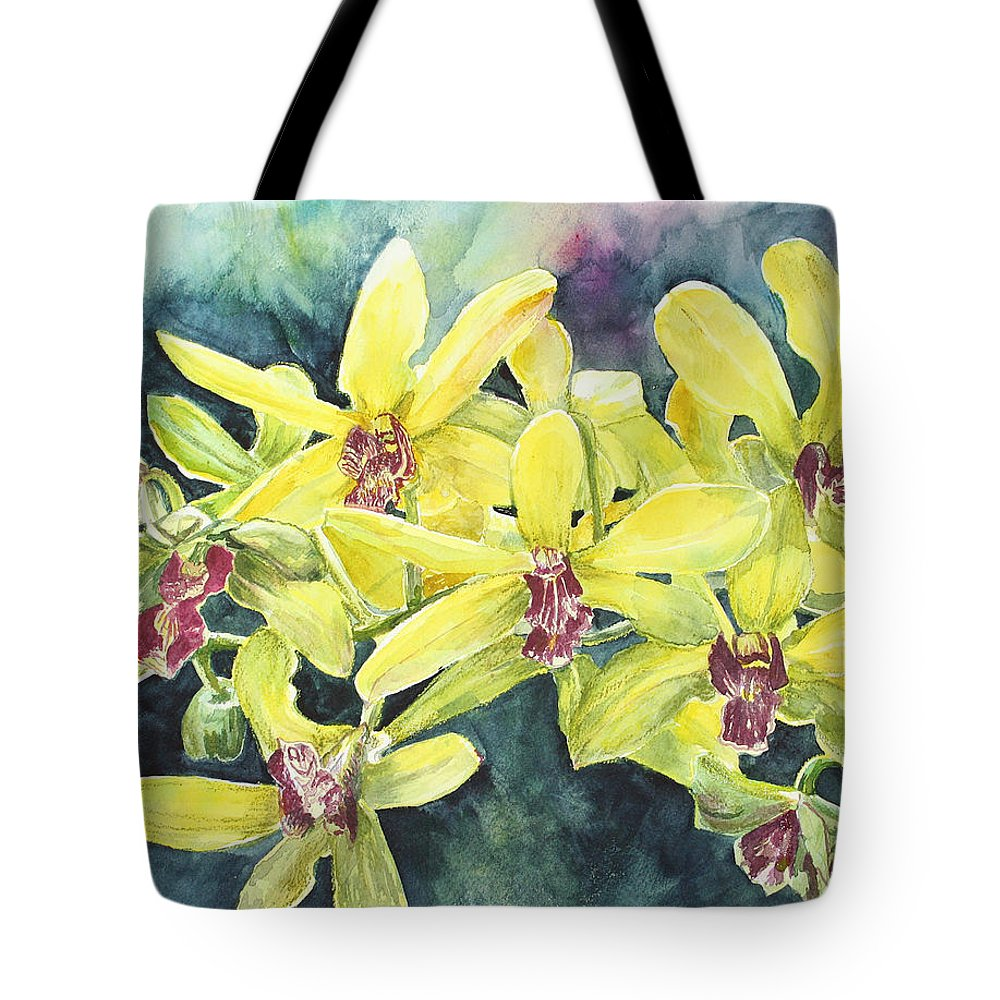 Yellow Tote Bag featuring the painting Yellow Orchids by Janis Lee Colon