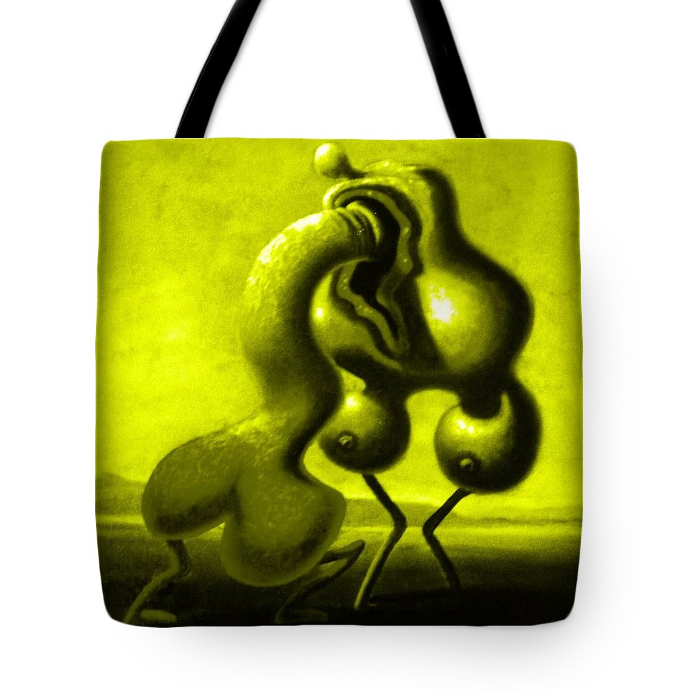 Genio Tote Bag featuring the mixed media Yellow Passion by Genio GgXpress