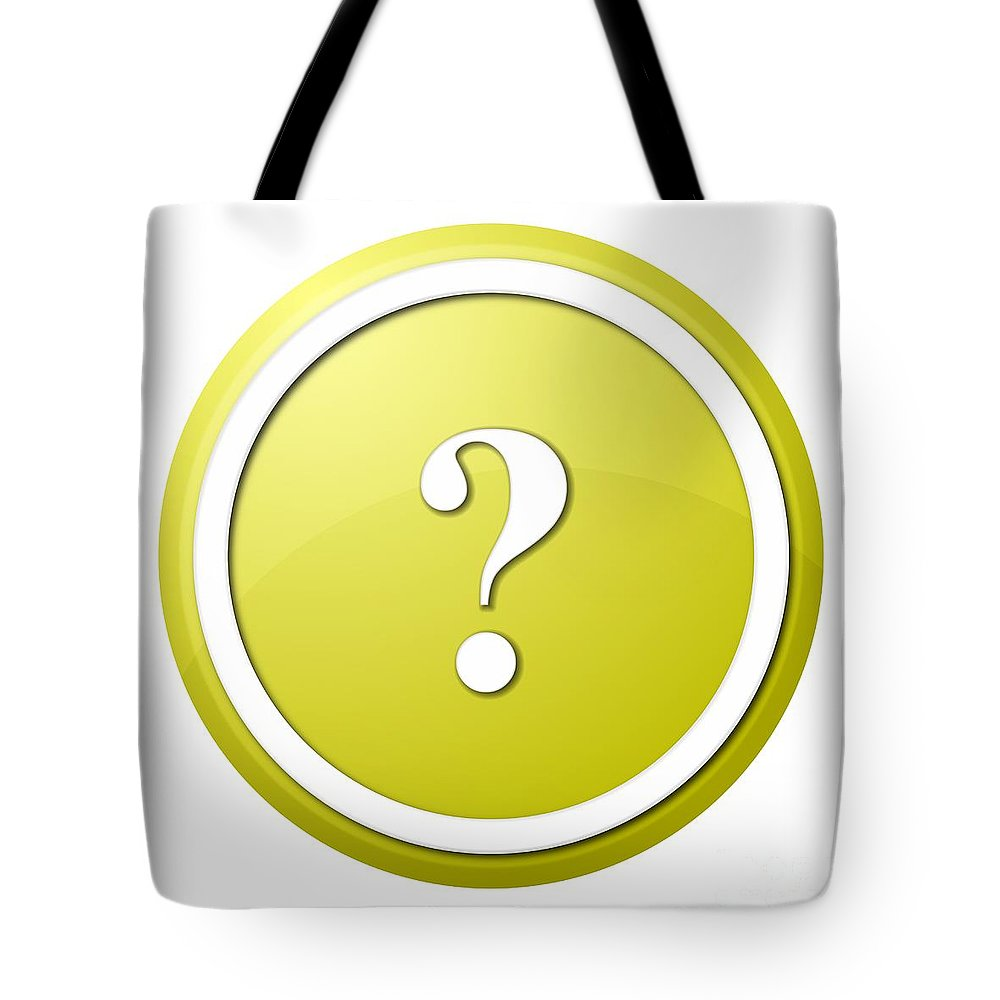 Icon Tote Bag featuring the digital art Yellow Question Mark Round Button by Henrik Lehnerer