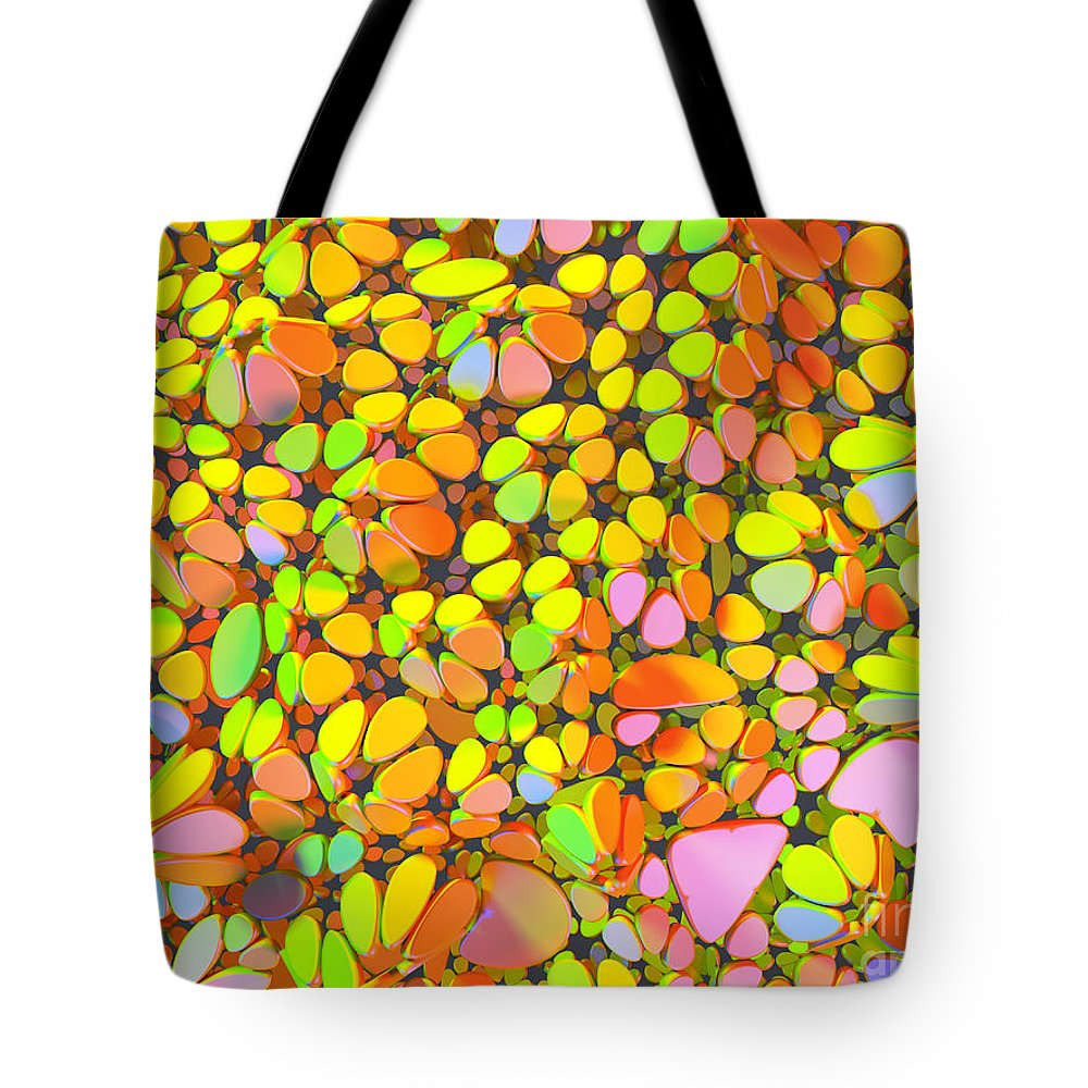 Image Tote Bag featuring the photograph Yellow Red Green Blue Digital Flower Mesh by Jan Brons