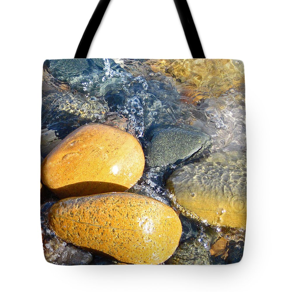 Rocks Tote Bag featuring the photograph Yellow Rocks At Lake Shore by Mary Bedy