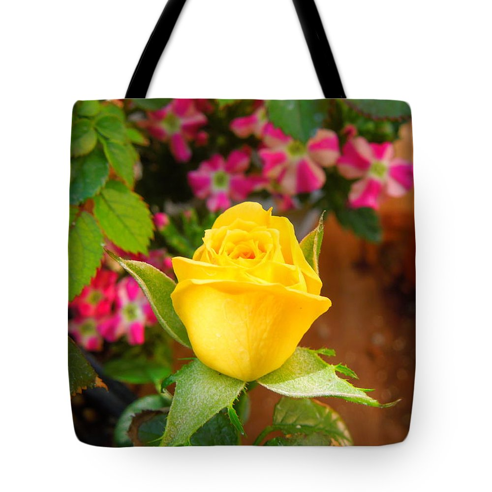Rose Tote Bag featuring the photograph Yellow Rose In Bloom by Donna Jackson