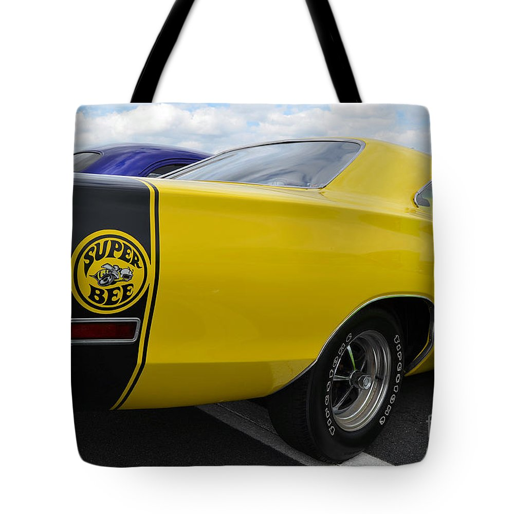 American Muscle Car Tote Bag featuring the photograph Yellow Superbee by Mark Spearman