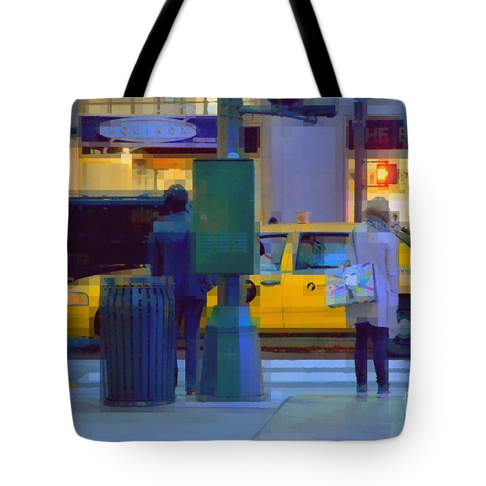 Traffic Tote Bag featuring the photograph Yellow Taxi by Miriam Danar