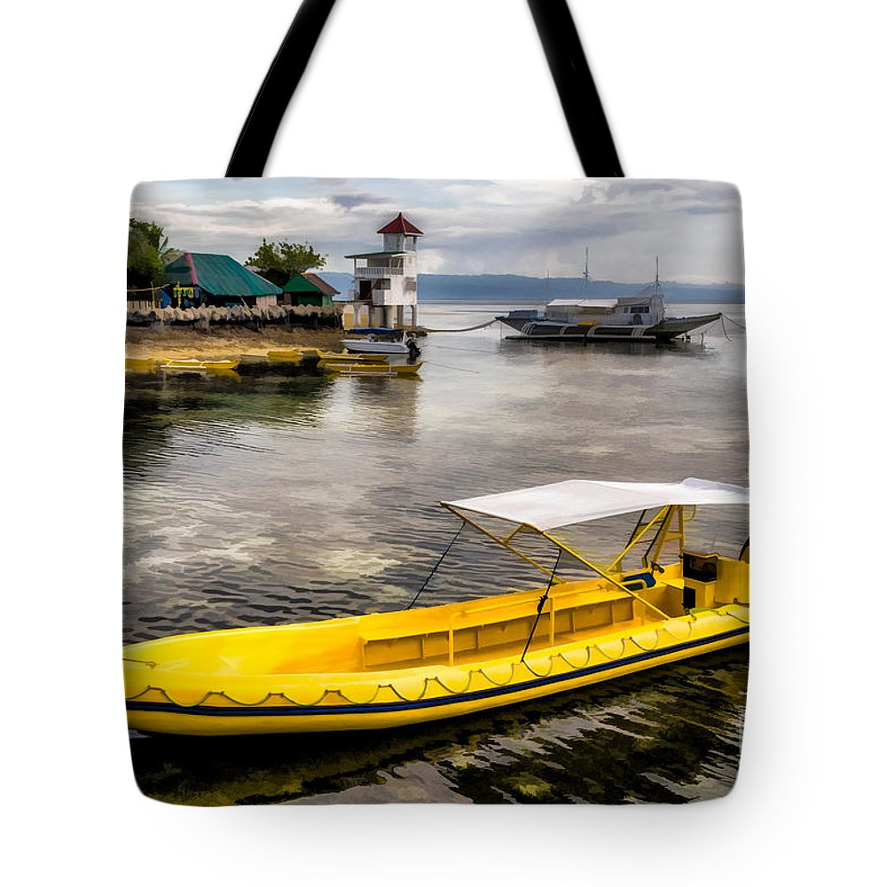 Yellow Boat Tote Bag featuring the photograph Yellow Tour Boat by Adrian Evans