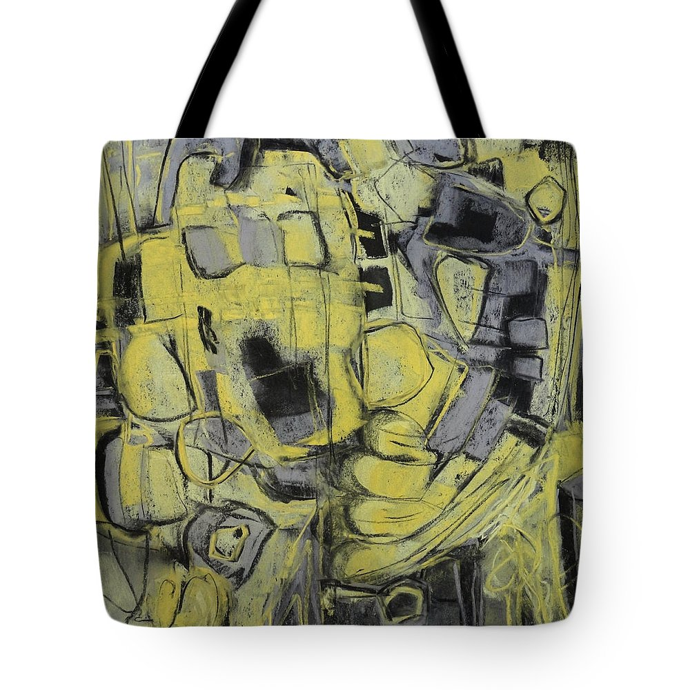 Katie Black Tote Bag featuring the painting Yellow Trip by Katie Black