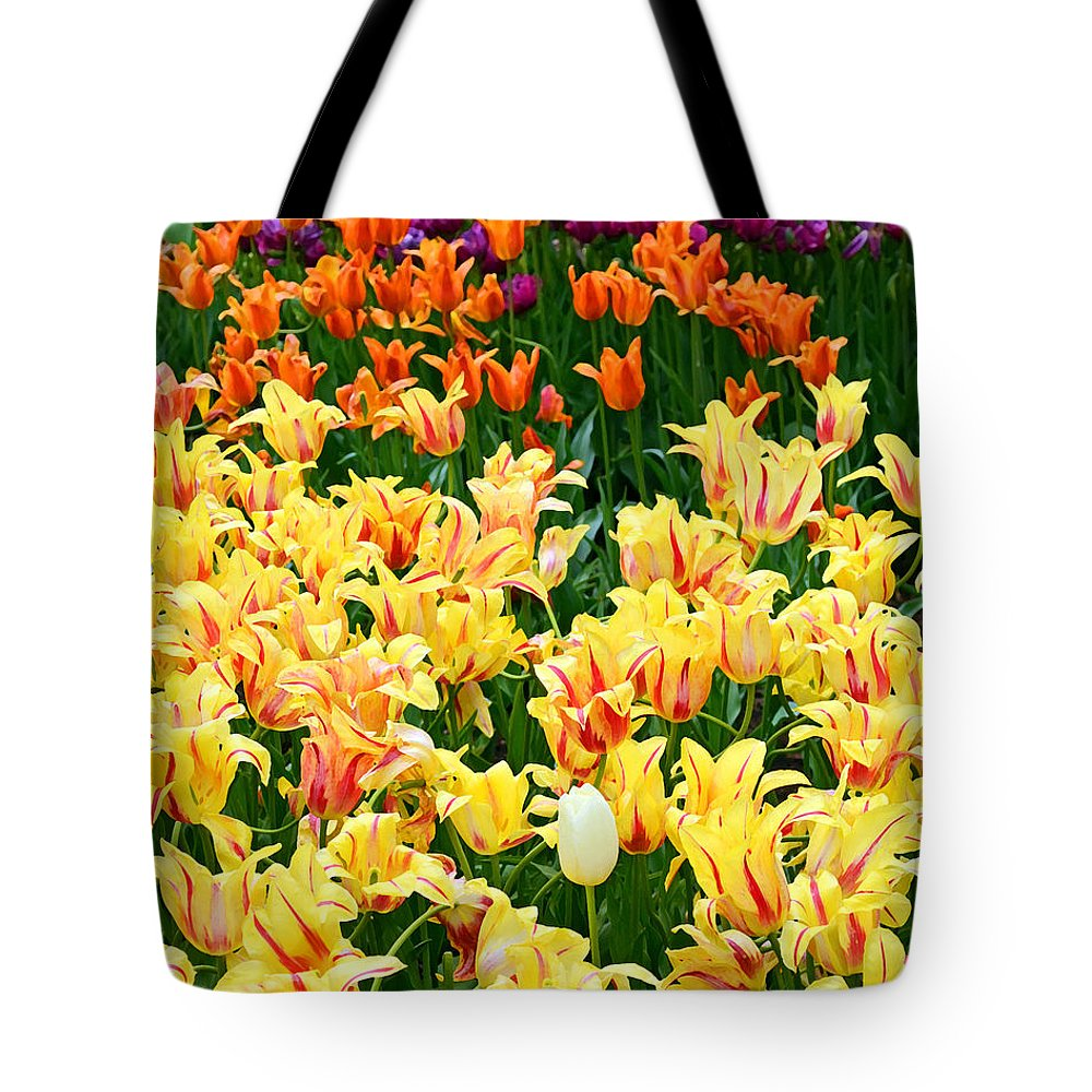 Nature Tote Bag featuring the digital art Yellow Tulips In Bloom by Eva Kaufman