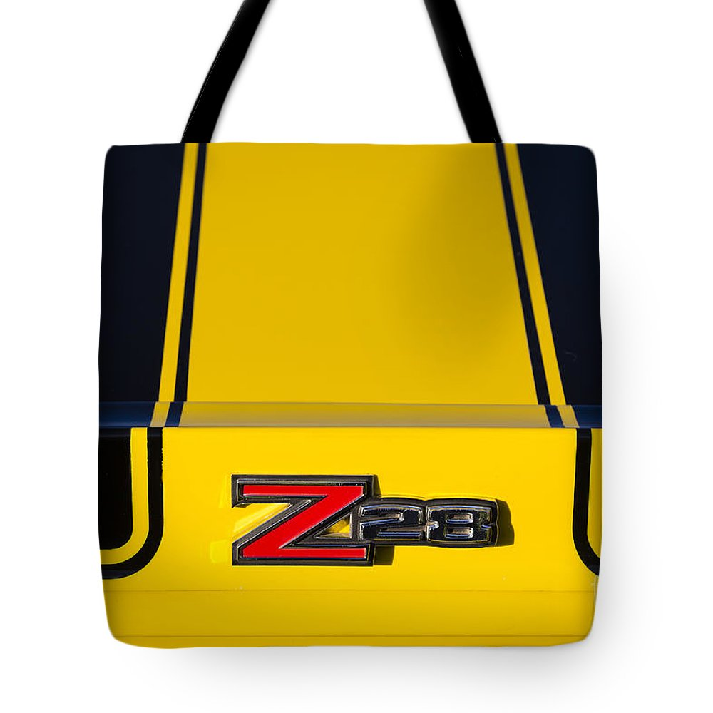 1970 Tote Bag featuring the photograph Yellow Z28 by Dennis Hedberg