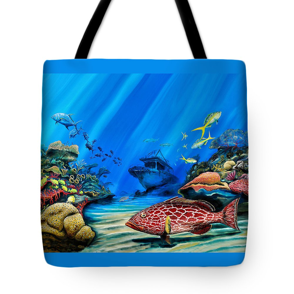 Shipwreck Tote Bag featuring the painting Yellowfin Grouper Wreck by Steve Ozment