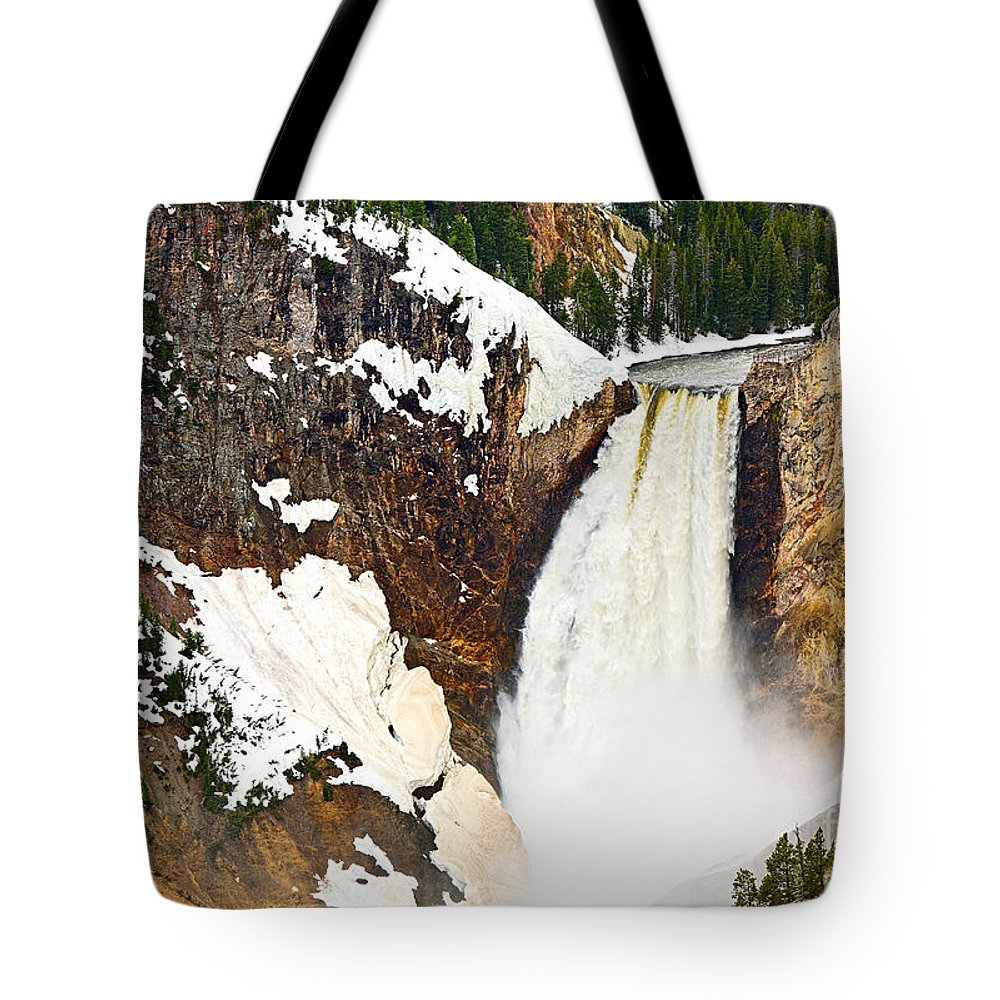 Yellowstone Falls Tote Bag featuring the photograph Yellowstone Falls From Lookout Point. by Jamie Pham