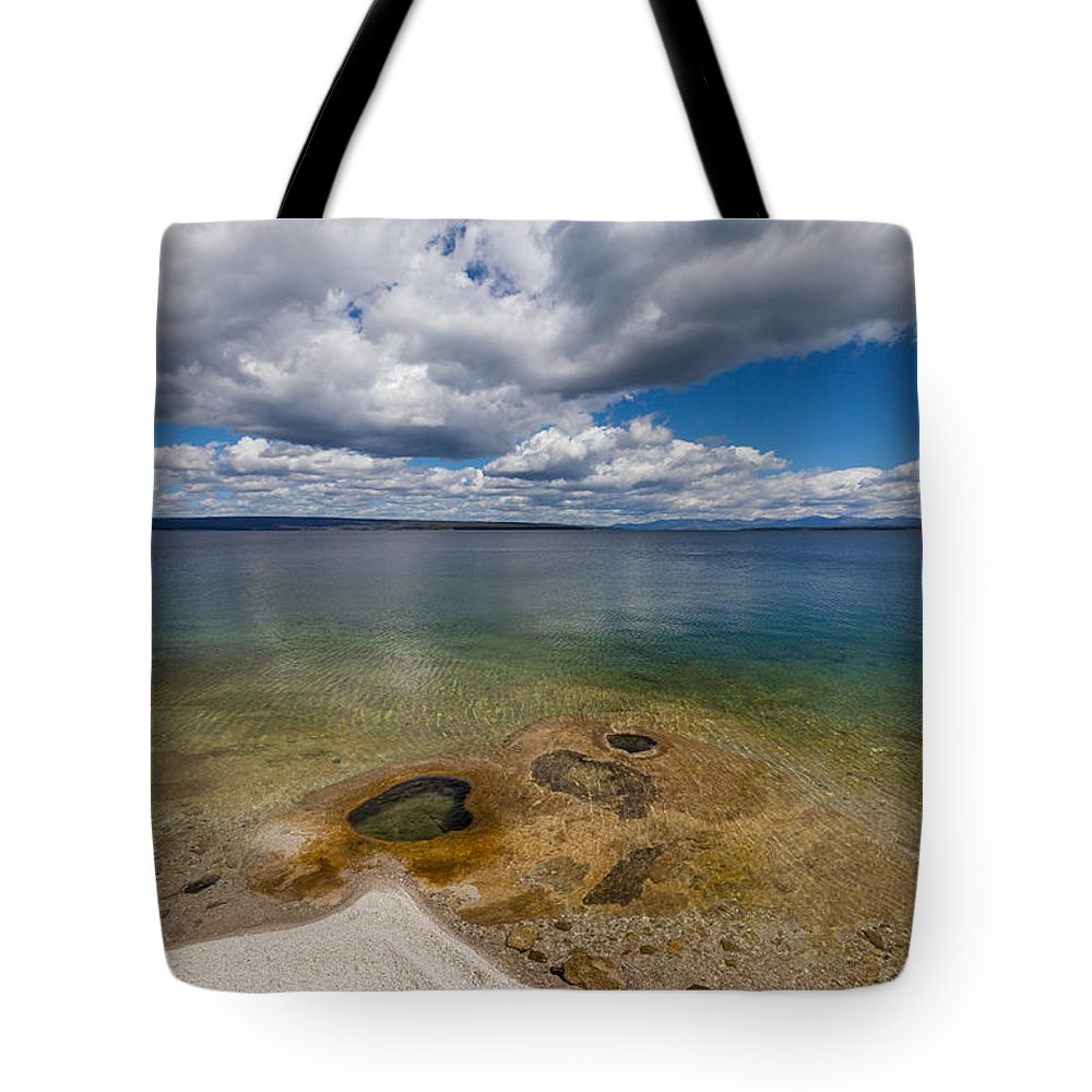 Forest Tote Bag featuring the photograph Yellowstone Lake by Fran Riley