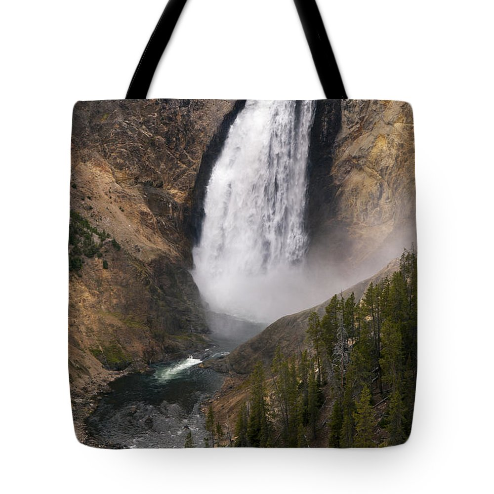 Lower Falls Tote Bag featuring the photograph Yellowstone Lower Falls by Bob Phillips
