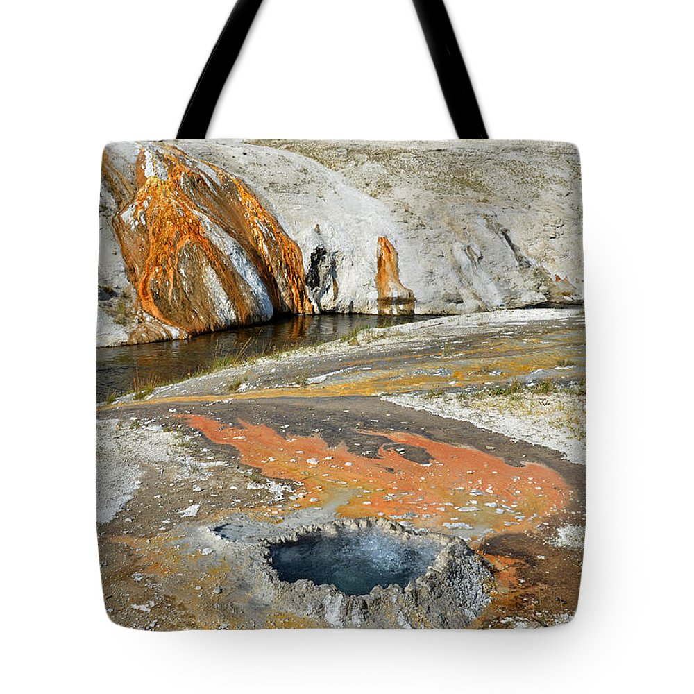 Yellowstone National Park Tote Bag featuring the photograph Yellowstone Small Crested Pool by Debra Thompson