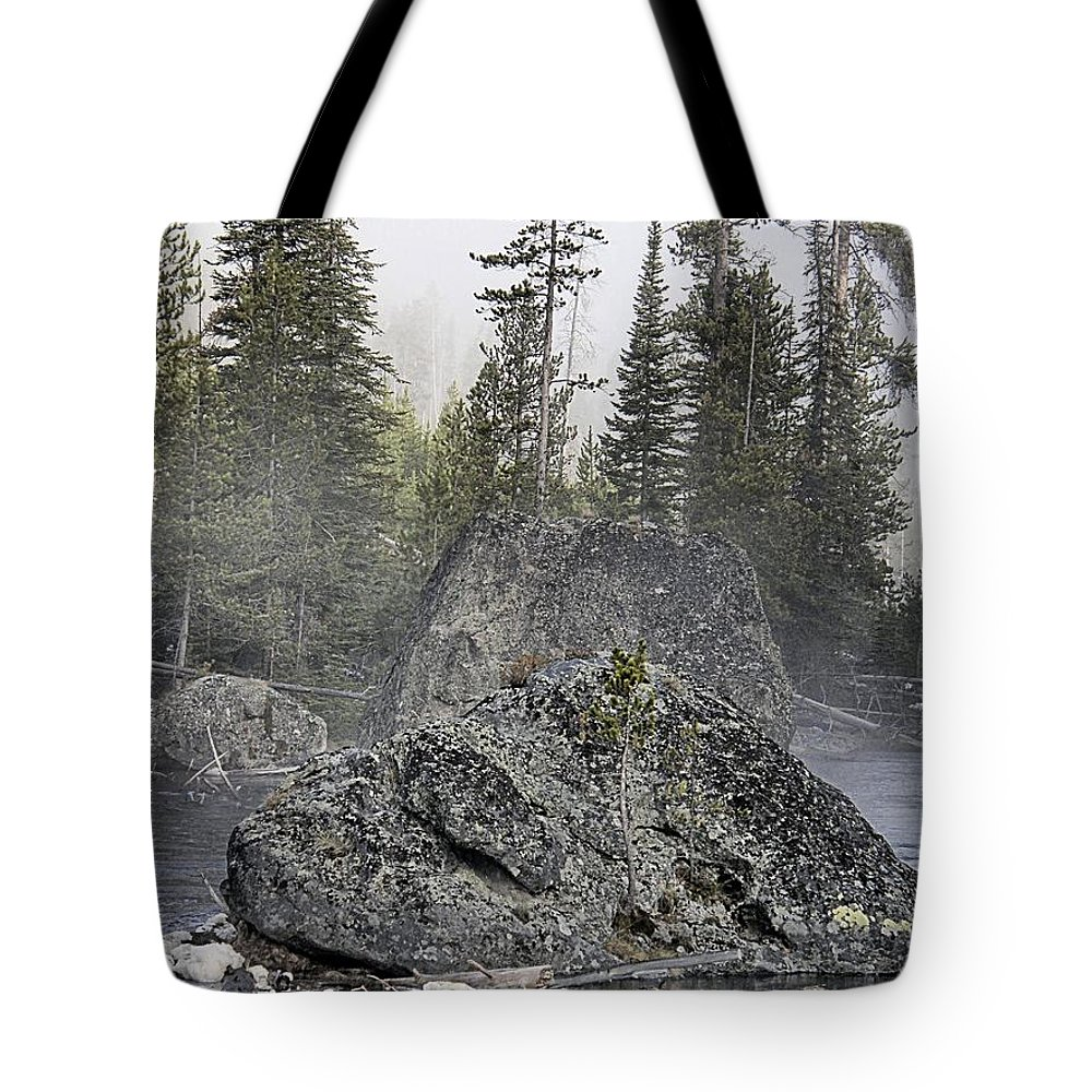 Yellowstone Tote Bag featuring the photograph Yellowstone - The Rock Tree by Image Takers Photography LLC