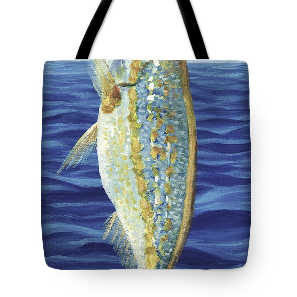 Snapper Tote Bag featuring the painting Yellowtail On The Menu by Danielle Perry