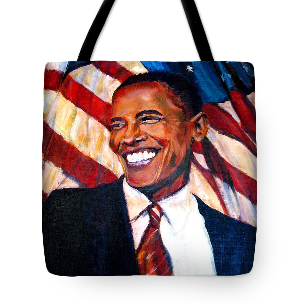 Barack Tote Bag featuring the painting Yes We Can by Art Nomad Sandra Hansen